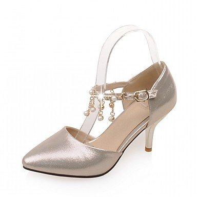 RUGAI-UE Estate Moda Donna Sandali casual PU Scarpe comfort tacchi a piedi all'aperto,Arrossendo Pink,US5 / EU35 / UK3 / CN34 Gold