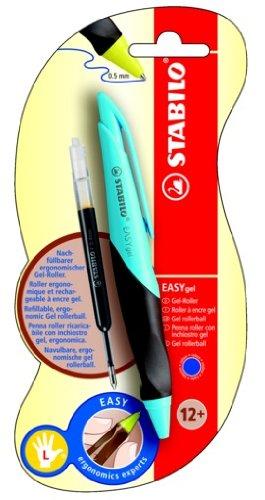 Ergonomischer Gelschreiber mit Druckmechanik - STABILO EASYgel in türkis/braun - für Linkshänder