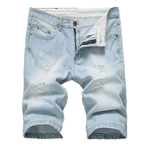 Votre magasin mondial Shorts d'été Homme Pantalon Casual Jogging Pantalon Court pour Homme Élastique Pants Homme Fermeture éclair Slim Pantalon Pantalon de Motard en Jean déchiré élégant pour