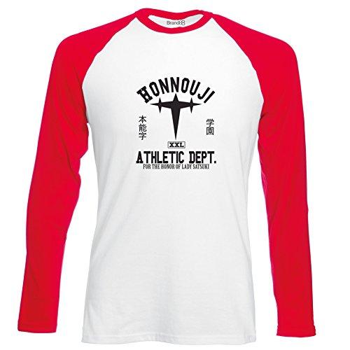 Brand88 - Honnouji Athletic Department, Langarm Baseball T-Shirt Weiss & Rot
