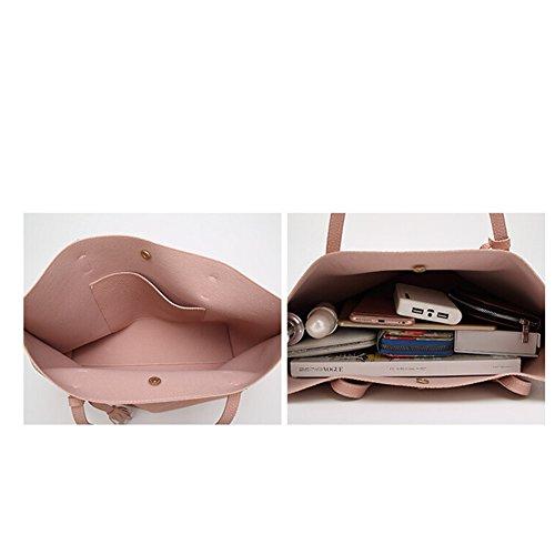 fanhappygo Fashion Retro Leder Damen elegant Shopper-Tasche Handtaschen Umschlag Schulterbeutel Umhängetaschen Rosa