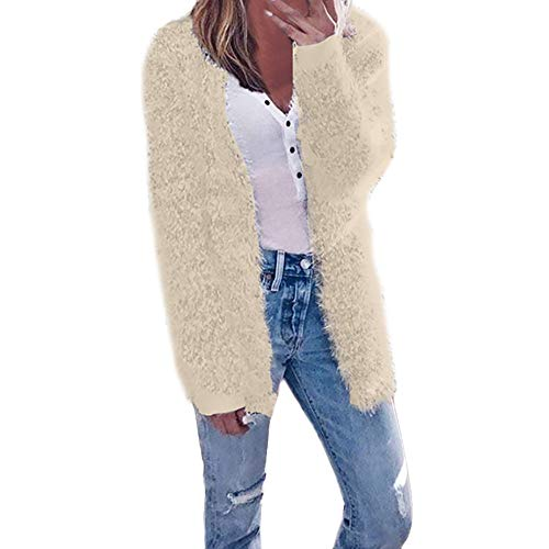 Geili Damen Herbst Winter Langarm Strickjacken Einfarbige Cardigan Lang Coat Warm Mäntel Jacken Oberbekleidung 5 Farben
