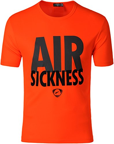 jeansian Uomo Sportivo Wicking Respirabile Quick-drying Maglietta T-Shirt Cime Running Tops LSL182 LSL181_Orange