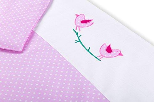 Amilian® Baby Bettwäsche Design: Vögelchen Rosa, 80x80 cm + 35x40 cm (2 tlg.) (Baby-vogel-bettwäsche)