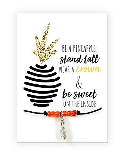 Pracht Creatives Hobby 6014-08055 - Armband mit Ananas Anhänger und Karte mit passendem Spruch, ideal als kleine Aufmerksamkeit oder als Geschenk, für Ihre Liebsten, Freunde und Verwandte