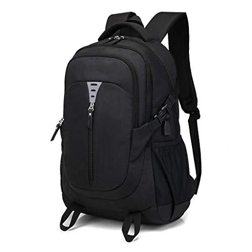 TONGSH Unisex-Nylon-Schultaschen beiläufiger Gepäck-Rucksack-Geschäftsreise-Schulter-Rucksack-Wanderrucksack kühler Sportrucksack Laptop-Rucksack Schulrucksack (Farbe : Schwarz)