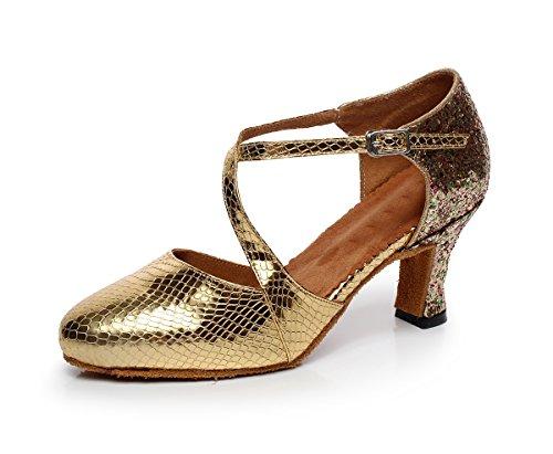 Minitoo qj7045Donna Punta Chiusa sintetica Latina Salsa Tango Danza scarpe Gold