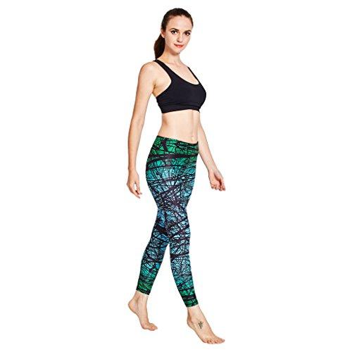 ... COOLOMG Damen Leggings Yoga Capris Lang Hosen Kompression Sport  Trainingshose S M L XL Wald grün ...