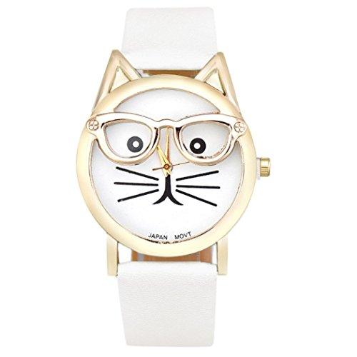 Damen Simple Uhren, Keepwin Frauen Simple Nette Gläser Katze Armbanduhr Analoges Quarzwerk Lederband Uhr fur Weiblich Hochschule Studierende Geschenk (White)
