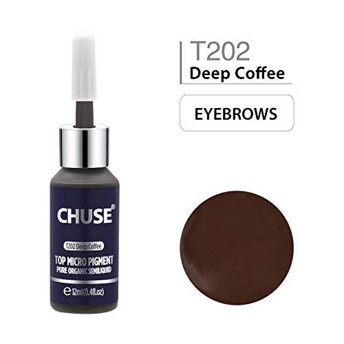 CHUSE T202 Café profond Couleur cosmétique permanente d'encre de tatouage de maquillage de micro-colorant de Microblading SGS passé, DermaTest 12ml (0.4fl.oz)