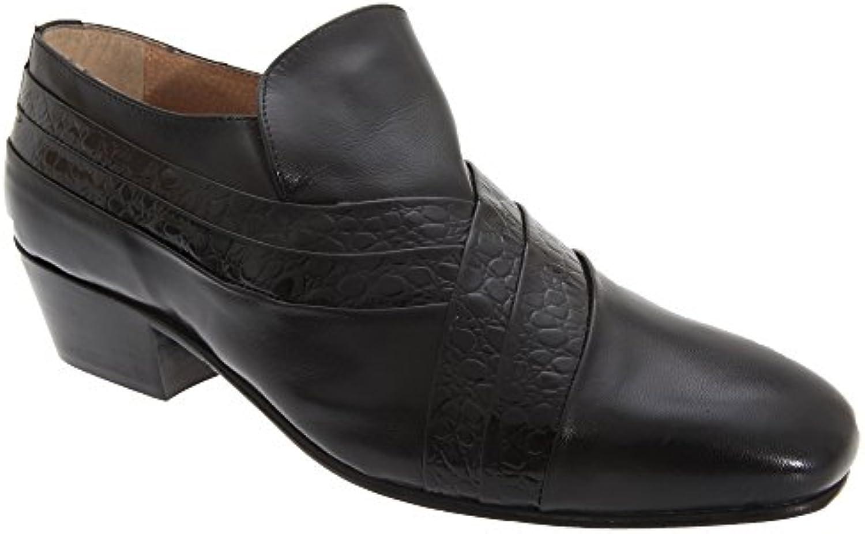 Montecatini - Zapatos de tacón con detalle de pliegues y lengüeta de piel de reptil para hombre