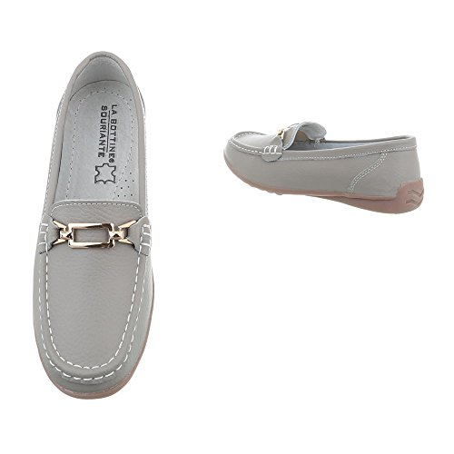 Ital-Design Chaussures Femme Mocassins Plat Mocassins gris 0511