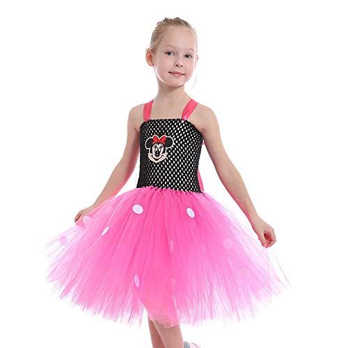 ZONA Elegent Kleinkind Mädchen Aktiv/Prinecess Dance Kostüm Kleid Sweet Patchwork Lace Tüll Ärmellose Midi Knielangen Pink Bezaubernd (Color : Pink, Size : M) -