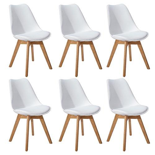 DORAFAIR Lot de 6 Chaise de Cuisine pour Salle à Manger Design scandinave,Chaises Rétro Tulip avec Pieds en Bois de Chêne Massif,Blanc