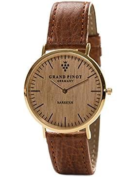 Grand Pinot flache Damen-Armbanduhr CLASSIC (36 mm) Gold/Barriquefass mit hellbraunem Lederarmband (elegante Holzuhr...