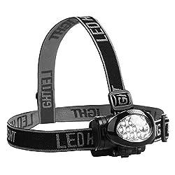 Ultrasport 10 LED Multifunktions Stirnlampe, Kopflampe mit neigbarem Lampenkopf und elastischem Kopfband, Multifunktionslampe outdoor, mit Batterien