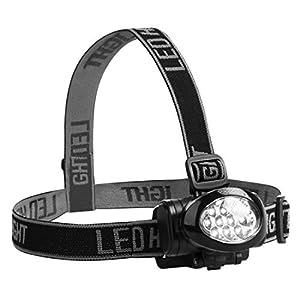 Ultrasport 10 LED Stirnlampe, multifunktionale Kopfleuchte, neigbarer Lampenkopf, elastisches Kopfband, Sportlampe zum Laufen, Angeln uvm., Outdoor-Kopflampe mit 3 Leuchtstufen, inkl. Batterien