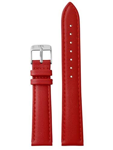 laVIIDA Uhrband LB-SVI2013S Ersatzband Uhrenarmband Leder 18 mm Rot-Silber