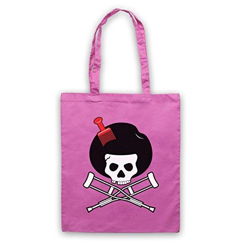 Inspiriert durch Jackass Skull & Crossbones Logo Afro Pick Inoffiziell Umhangetaschen Rosa