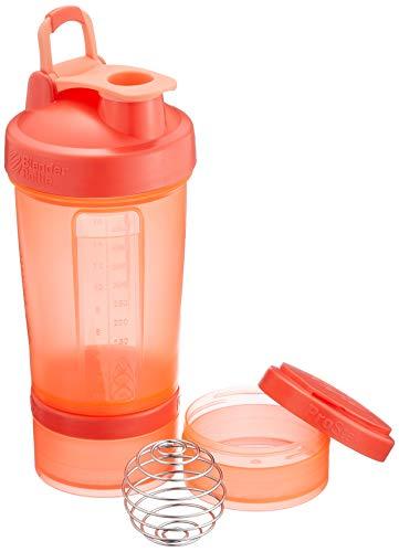 BlenderBottle ProStak Protein Shaker mit BlenderBall mit 2 Container 150 ml und 100 ml, 1 Pillenfach, optimal für Eiweiß, Diät und Fitness Shakes, skaliert bis 450ml, coral (650ml)
