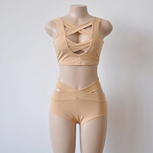 Donna Set Braless Tuta Costume da Bagno a due Pezzi Costume da Bagno a Vita Alta Shapewear Swimwear Set Sexy Lingerie Petto Cross Bikini Collant Albicocca