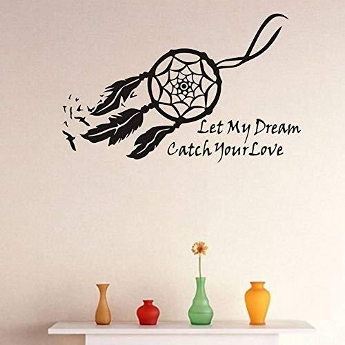 Preisvergleich Produktbild WSKRZS Wandaufkleber Wandtattoos Dream Catcher Wall Decal Poster Lassen Sie Meinen Traum Ihre Liebe Zitat Scratch Map Home Decor Fangen