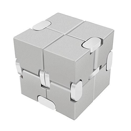 Preisvergleich Produktbild LilBit Fidget Hand Finger Infinity Cube Spielzeug Aluminum Alloy Stress Relief Würfel Toys für Anxiety Autism ADD ADHD Kinder / Erwachsene Silber