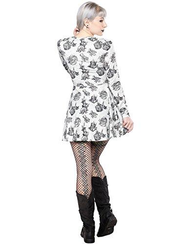 Sourpuss - Robe - Patineuse - Femme Small Blanc - Blanc