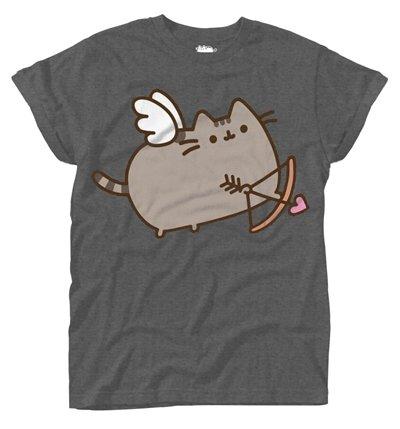 Pusheen Love Cat Girl-Shirt dunkelgrau L