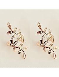 29bdda74c812 Fablcrew Pendientes Clip Cristal Dorado Percha Hojas Clip Ear Cuff Joyería  Fake Piercing Girl Regalo