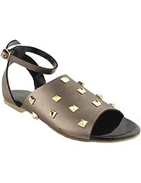 Foot Wagon's Metallic Brown Studed Flats |Metallic Flats | Black Slippers |Wide Strap Footwear| Flats |Ladies...