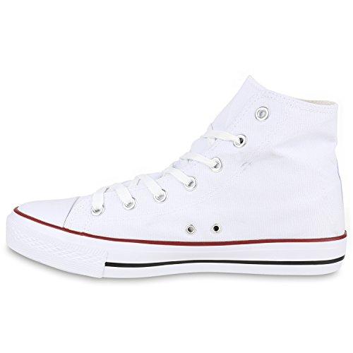 Herren Sneakers High Top Sportschuhe Freizeit Schnürer Stoffschuhe Weiß