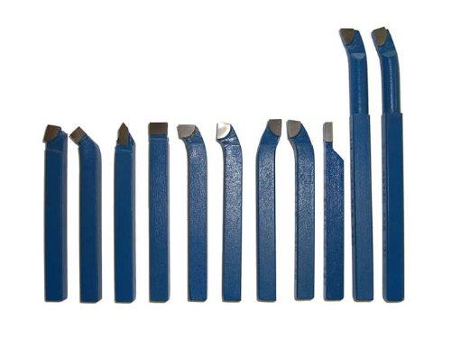 PAULIMOT Drehstahl-Satz Drehmeißel-Set 11-teilig mit Hartmetallplatten P30, DIN4976, 10 x 10 mm