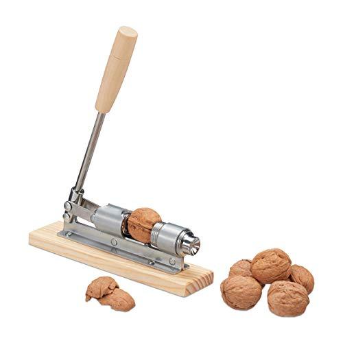 Relaxdays Retro Nussknacker Holz, Nutcracker, größenverstellbar, kraftsparend Nüsse öffnen, Hebel, Metall, Silber/Natur