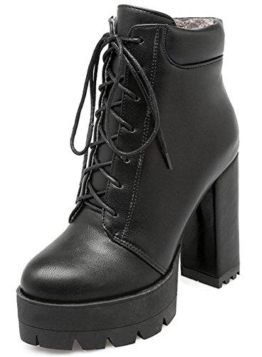 YE Damen Chunky High Heels Plateau Stiefeletten mit Blockabsatz Zum schnüren 11cm Absatz Ankle Boots
