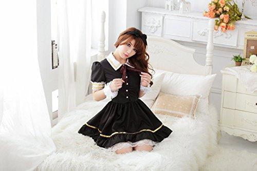 Shangrui Femmes Jupe Blanche Revers d'or Crispening Scène Costumes Mignon Accueil Vêtements W612 Noir