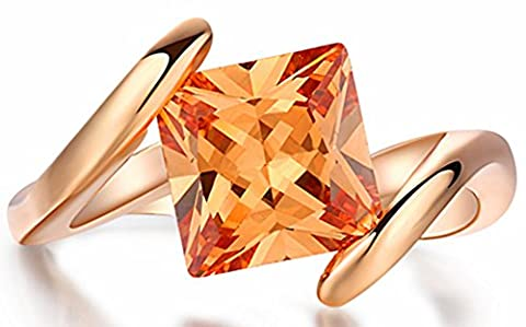 SaySure - 18K Rose Gold Plated Ring Austrian Crystals (SIZE : 9)