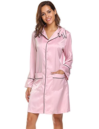 Ekouaer -  Accappatoio  - Maniche lunghe  - Donna Pastel Pink