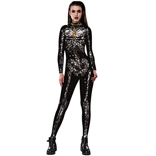 Amcool 2019 Damen MädchenHalloween Rose Skelett Movement Breathable Halloween Party Fancy Gespenstisch Bodycon Play Cosplay Kostüm Langarm Leggings Bodysuit (Vollen Kostüm Bodysuit)