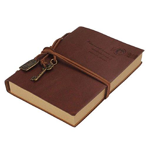 westeng Retro Notizblock Leder Notizbuch, Notizbuch im Polizeistil Kraftpapier, AGENDA Vintage
