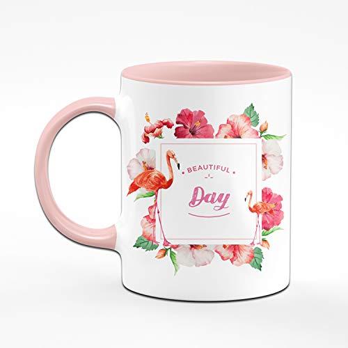 Tassenbrennerei Flamingo Tasse mit Spruch Beautiful Day Bürotasse mit Motivation Tassen mit Sprüchen - 2