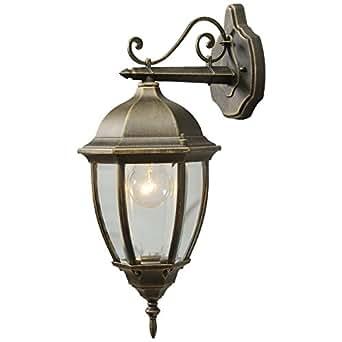 Applique réverbère vintage de style rustique et antique avec armature en métal couleur or et plafonnier en verre, eclairage extérieur pour le jardin ou chemins ou patio, IP44 1 ampoule non-incl. E27 1x100W 230V