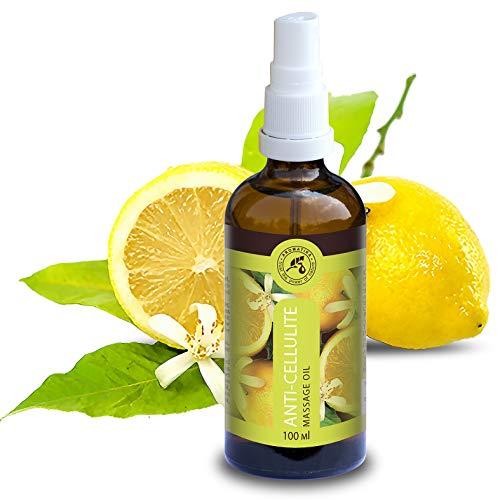 Anti Cellulite Öl 100ml - 100% Naturreines Massageöl mit Traubenkernöl - Jojobaöl - Pfirsichkernöl - 100% Ätherisches Zitronenöl - Lavendelöl - Körperpflege -