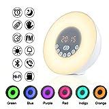 Wake Up Light Despertador Luz-OnlineTek LED Despertador, Radio FM,Bluetooth 4.2, entrada TF / AUX, 5 Sonidos Naturales, 6 Colores Automáticos, Lámpara de Mesita Regulable...