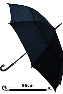 COLLAR AND CUFFS LONDON - Windproof StormProtector Walking Umbrella - Vented Canopy - Highly Engineered to Combat Inversion Damage - Automatic Open - Solid Wood Hook Handle - Strong - Black - Large
