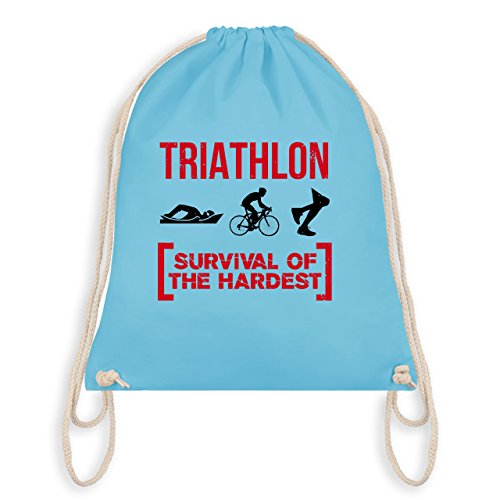Sonstige Sportarten - Triathlon - Survival of the hardest - Unisize - Hellblau - WM110 - Turnbeutel I Gym Bag (Unterstützen Beutel)