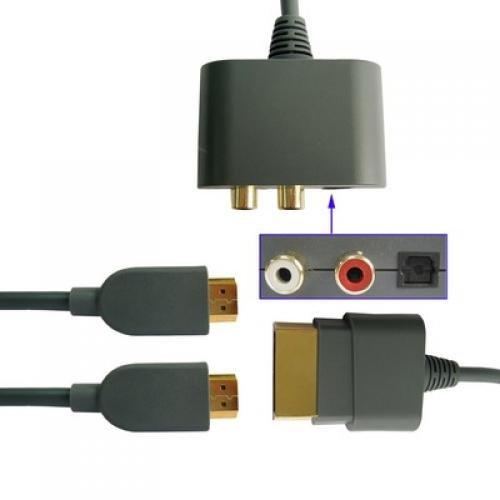 2M Hdmi HD AV Cable + Optical RCA Audio Adapter For Microsoft Xbox 360 [Importación Inglesa]
