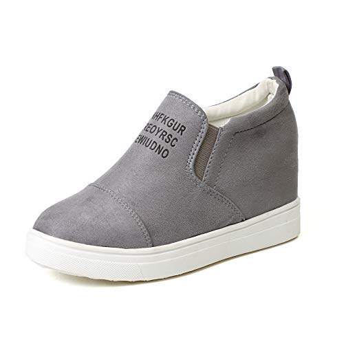 Miuko Plateau Sneaker Damen Leder Keilabsatz Hohe 7 cm Absatz Slip On Wildleder Loafers Wedges Ankle Boots Casual Bequeme Grau 39 (Loafer Frauen Grau)