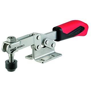 JW Winco Series 6830-NI Stainless Steel Horizontal Acting Toggle Clamp with Horizontal Mounting Base, Metric Size, Clamp Size 2, 1000/1200 Newton Holding Capacity