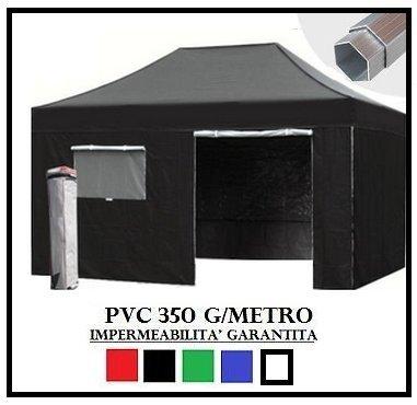 Gazebo pieghevole nero alluminio esagonale 40mm 3x4.5 + 4 teli laterali pvc 350 g metro